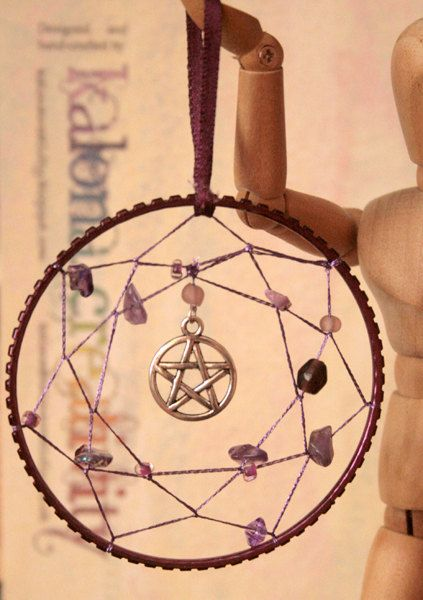 Matching Pair of Dreamcatchers with Gemstones and Charms, Handmade Wicca Pagan, Elemental, Pentacle, amethyst, hemetite. £12.00, via Etsy. Witch Pagan craft inspiration