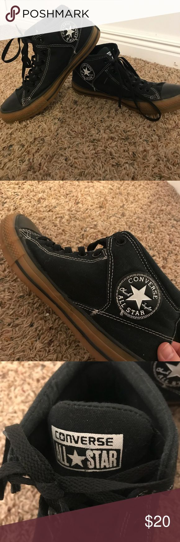 Men's black high top converse size 9 Black high top converse men's size 9. Have minor ware and tear, but are still in great shape, and look good!! 20 OBO Converse Shoes Sneakers