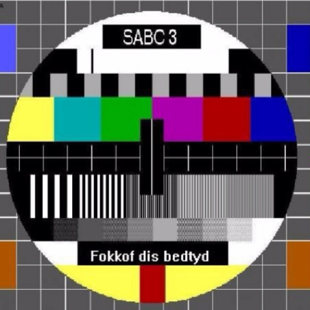 SABC test pattern - TV only came to South Africa in 1975 and we all stared at this test pattern in amazement for hours and hours :)