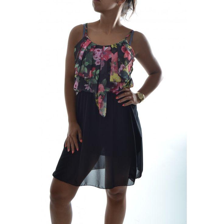 Letné šaty na ramienka so vzorom - čierne