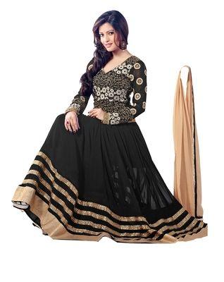 Riya Sen Black Georgette Embroidery Anarkali Suite Anarkali Suits