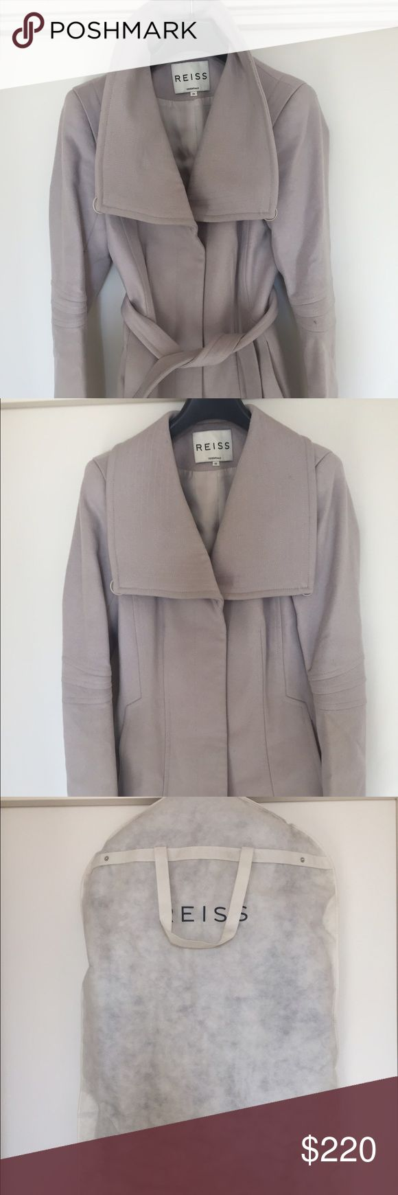 REISS Casper Belted Coat Wool REISS coat/ jacket. Beautiful soft pink color- wrap at waist style with gorgeous details on the arms and shoulders. Worn a moderate amount of times. Comes with original dust bag from REISS Reiss Jackets & Coats