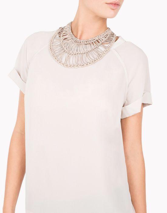 Brunello Cucinelli rubber-coated cotton macramé jeweled necklace