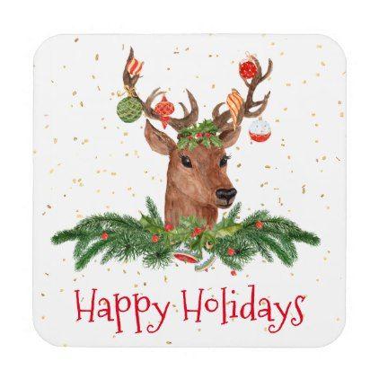 Gold Fleck Christmas Deer Happy Holidays Coaster - Xmas ChristmasEve Christmas Eve Christmas merry xmas family kids gifts holidays Santa