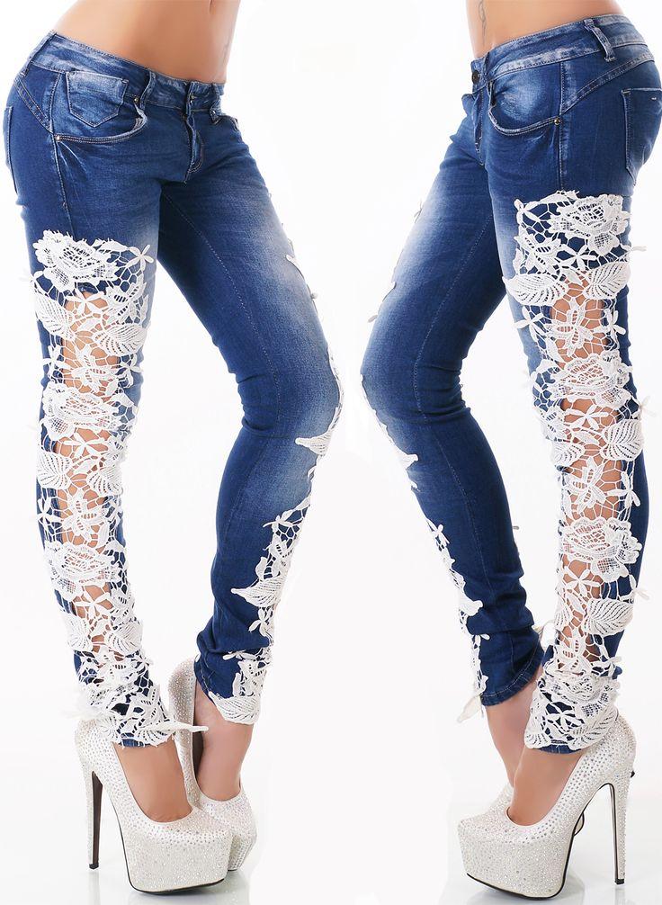 Dámské džíny zdobené krajkou