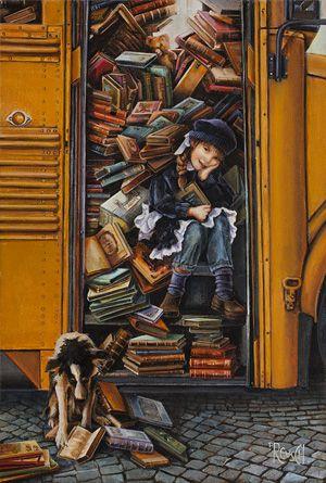 """Overbooked"" by Lori Preusch. Acrylic on canvas, 12x17.5 inches. Sold. (via Borsini-Burr Gallery.)"