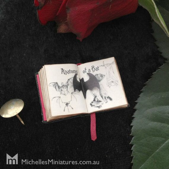 1:12 Scale Spooky Spell book by Michelles Miniatures - inside spread with pop up bat