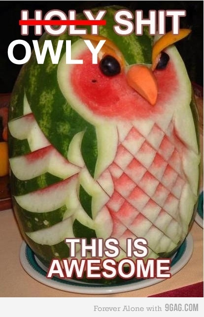 Awesome Food art: Fruitart, Watermelonowl, Watermelon Owl, Summer Parties, Watermelon Art, Watermelon Carvings, Fruit Art, Foodart, Food Art