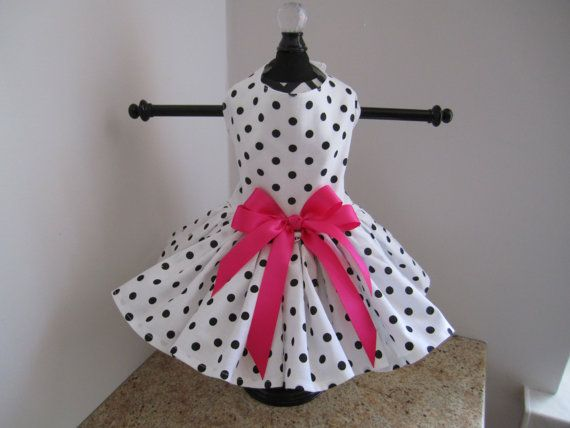 Dog Dress XS White with Black Polkadots By by NinasCoutureCloset