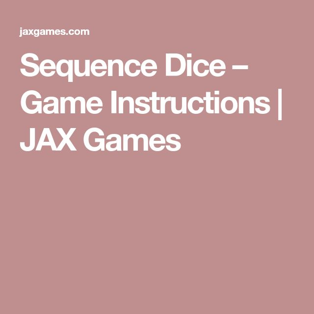 Sequence Dice – Game Instructions | JAX Games