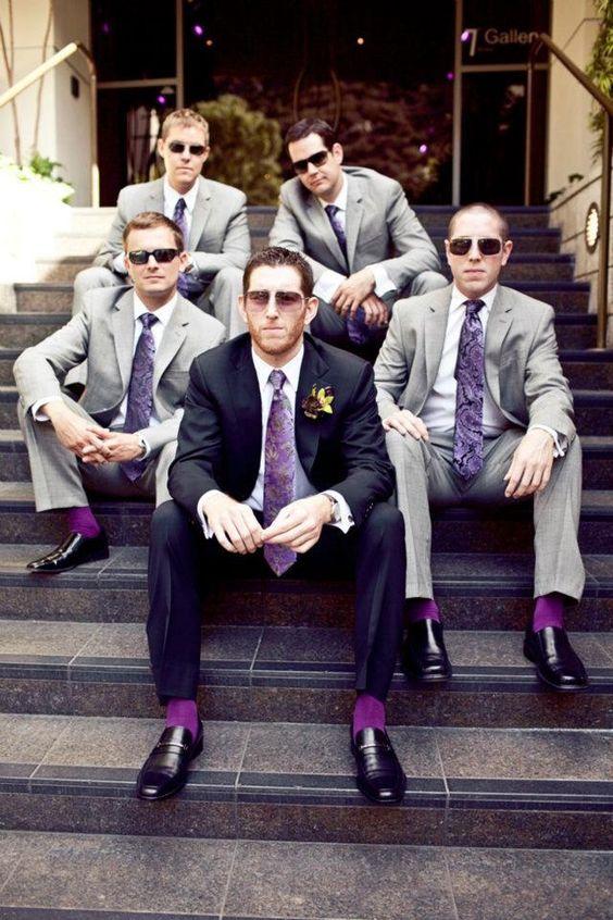 purple groomsmen wear / http://www.himisspuff.com/purple-wedding-ideas/12/