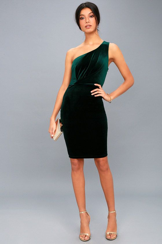 1629bfb3a112 Candlelit Date Forest Green Velvet One-Shoulder Bodycon Dress ...