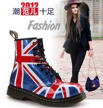Stivali di cuoio genuino delle donne del progettista di marca uk flag martin stivali inghilterra scarpe casual per le donne(China (Mainland))