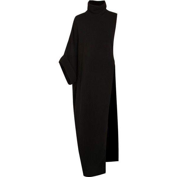Balmain Asymmetric merino wool turtleneck maxi dress ($1,230) ❤ liked on Polyvore featuring dresses, black, merino wool turtleneck, turtleneck dresses, short skirts, merino sweater dress and turtleneck sweater dresses