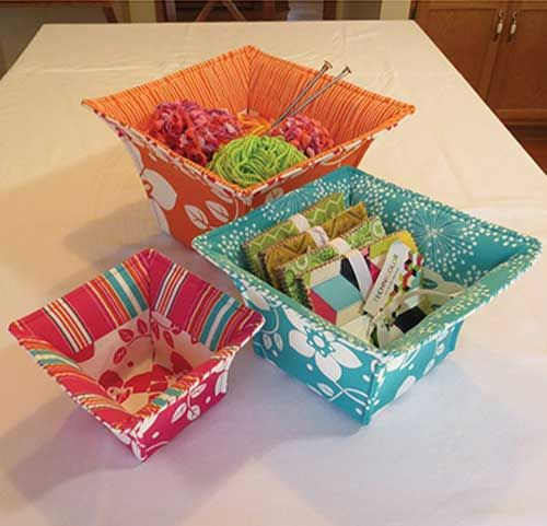 Flared Top Fabric Baskets Sewing Pattern                                                                                                                                                                                 More
