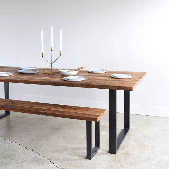 Industrial Modern Kitchen Table U Shaped Metal Legs Made