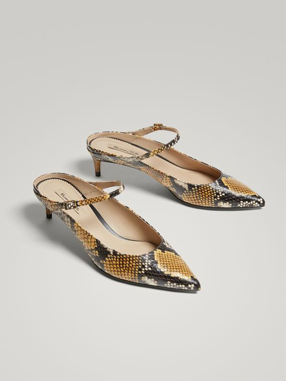 dc39d0446b41 Spring Summer 2018 Women´s ANIMAL PRINT LEATHER SLINGBACK HIGH HEEL COURT  SHOES at Massimo Dutti for 130. Effortless elegance!