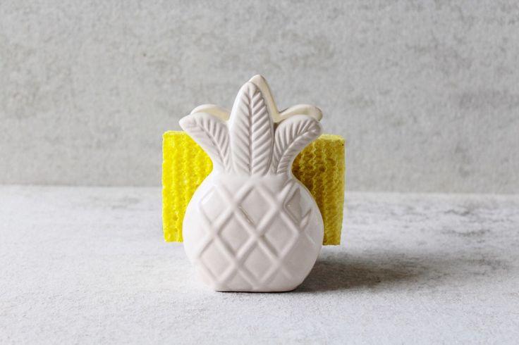 Pineapple Sponge Holder - Pineapple Napkin Holder - Pineapple Decor - Pineapple Kitchen by PotteryLodge on Etsy https://www.etsy.com/listing/271894038/pineapple-sponge-holder-pineapple-napkin