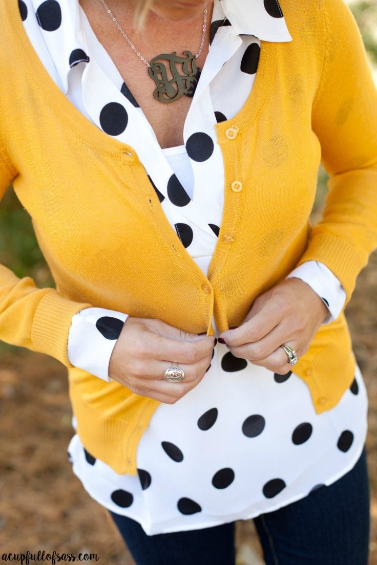 Fall Outfit Idea. Polka dots and monograms, oh my!!