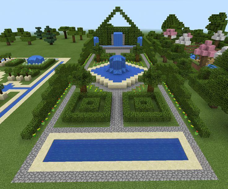 Minecraft garden and fountain minecraft pinterest for Garden designs minecraft