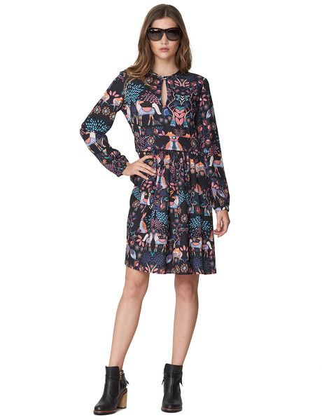 I AM by Andrea Moore Mythical Dress - This printed long-sleeve dress has a waistband, and features a button-up keyhole feature at the front of the neck.