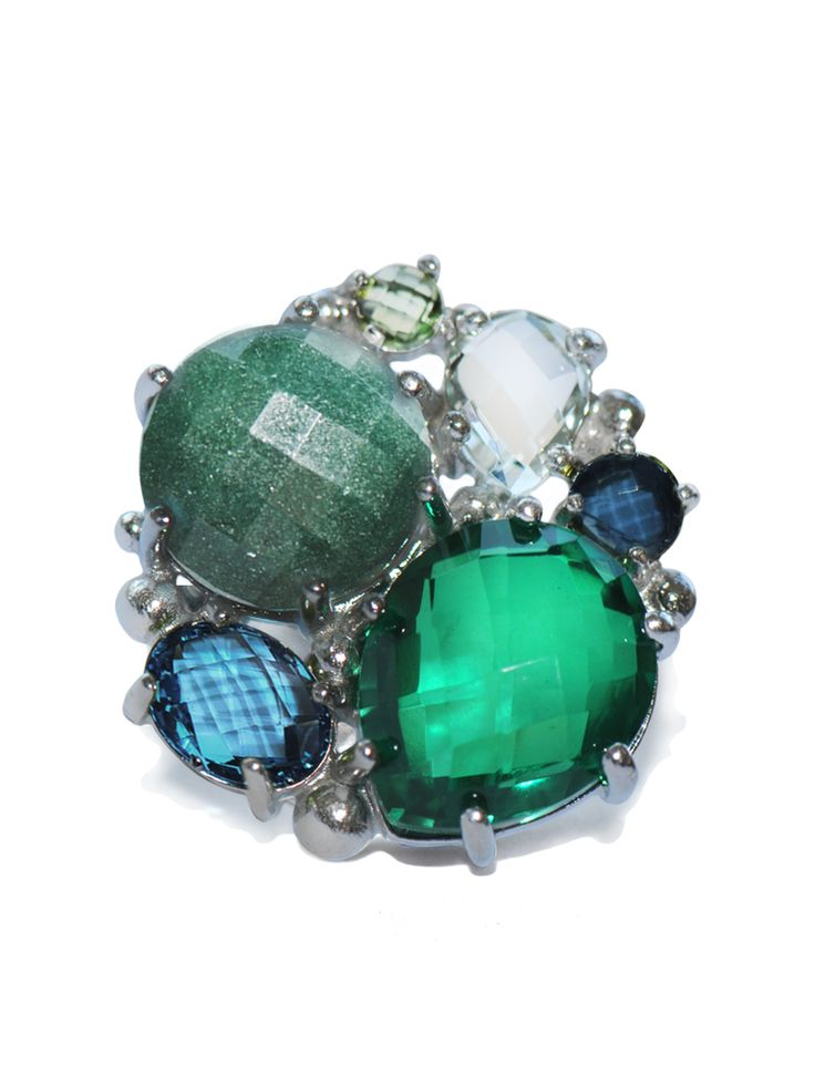 Bouquet Ring- Green Quartz, Aventurine, Green Amethyst, Swiss & London Blue Topaz gemstones are set in Sterling Silver.