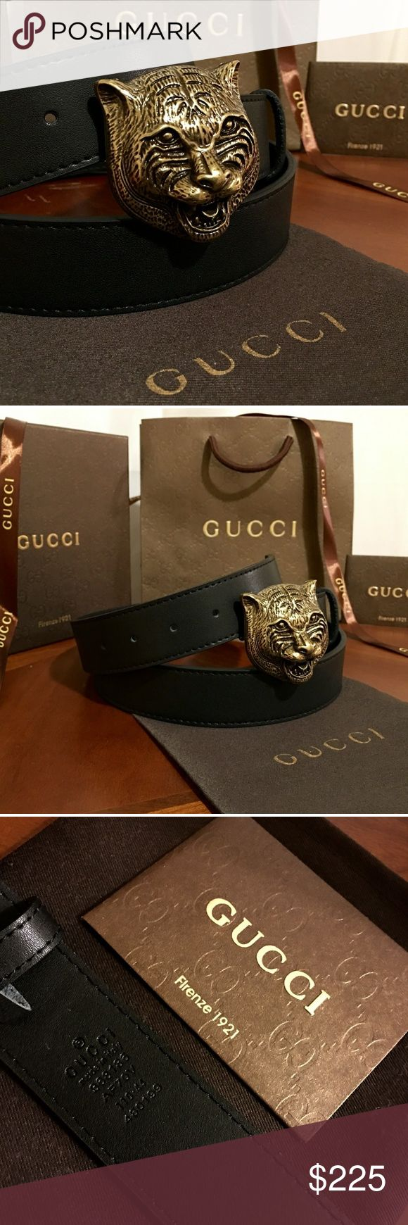 """Gucci Feline Belt!!! Gucci Feline Belt W/Antique Brass Hardware!!!  Brand New!!!  Unisex...For Man Or Woman!!!  Size Available - 30"""", 32"""", 34"""", 36"""", 38"""", 40"""", 42""""!!!  Includes Gucci Belt, Gift Box, Dust Bag, Ribbon, Etc!!!  Great Gift Idea!!!  Last Available!!!  Check My Listings For Other Great Items!!!               Ignore: Gucci gg monogram casual dress belts men's women's guccissma leather gold silver web tiger bee embossed panther wool cable knit blooms supreme print angry cat ufo…"""