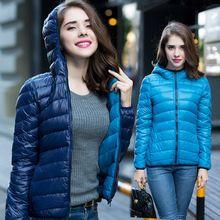 Nuevo 2016 invierno mujer bilaterales 90% de pato blanco abajo con capucha Ultra ligero chaquetas abrigo de invierno caliente Parkas W00743(China (Mainland))