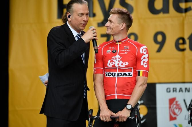 Andre Greipel chats on stage at the 2018 Tour de France team presentation bafe65b0a
