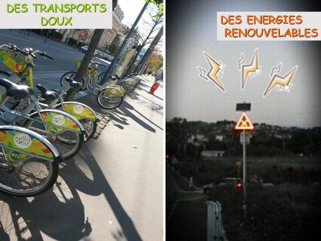 Ce montage est constitué de deux photos, la première qui a été prise dans la zone industrielle de La Talaudière. C'est un panneau routier qui est utilisé sur la voie publique et qui a été conçu pour être visible la nuit ou lors de brouillard grâce a des LED clignotantes.
