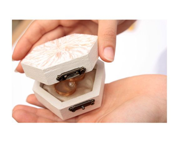 Wedding ring Box with Pillow unique small jewelry box by PilipArt, $24.00