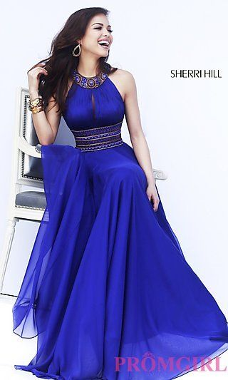 Long Halter Prom Gown by Sherri Hill 11086 at PromGirl.com
