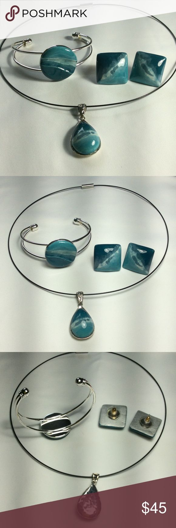 """3 pieces Jewelry These are handmade by me.  The """"stones"""" are ceramic.  They have been bisque fired in the kiln, then I applied various glazes to create the effect you see.  Then they were glaze fired.  A very strong glue was used to attach them to the bracelet and necklace blanks.  The colors are teal, white and turquoise.  Metal is not sterling. Necklace is 18"""" with a magnetic closure.  New.  Never worn.  All pieces will come in gift boxes. Accessorized by Ann Jewelry"""