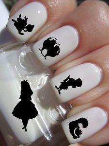 Alice in Wonderland Silhouette Nail Art Decals Adult Kid Transfer Peel Apply | eBay
