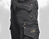 Men Short Pants Hipster,Tribal,Steampunk,Cargo Pants,Burning Man,Music Festival Pants,Pocket Pants,Hard Wear,Gift For Men .Psy Trance Boho.