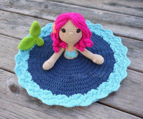 Marina the Mermaid Crochet Lovey/ Security Blanket *Ready to Ship*  A cute Mermaid taking a peek out of the water.  Color: Green, Pink, Turquoise,