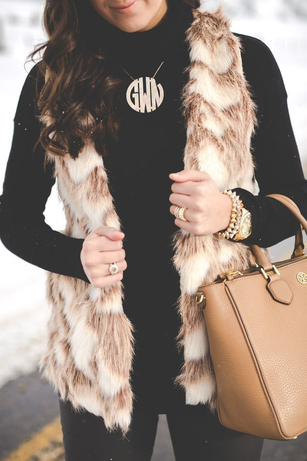 faux fur vest, black turtleneck, monogram necklace, acrylic necklace, black booties, tory burch robinson tote, pink mirror aviators, faux fur, winter style, winter fashion // grace wainwright from a southern drawl