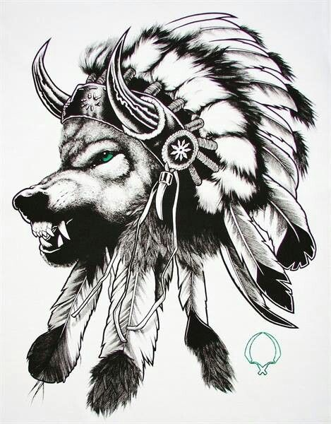 Native american, wolf, headdress.
