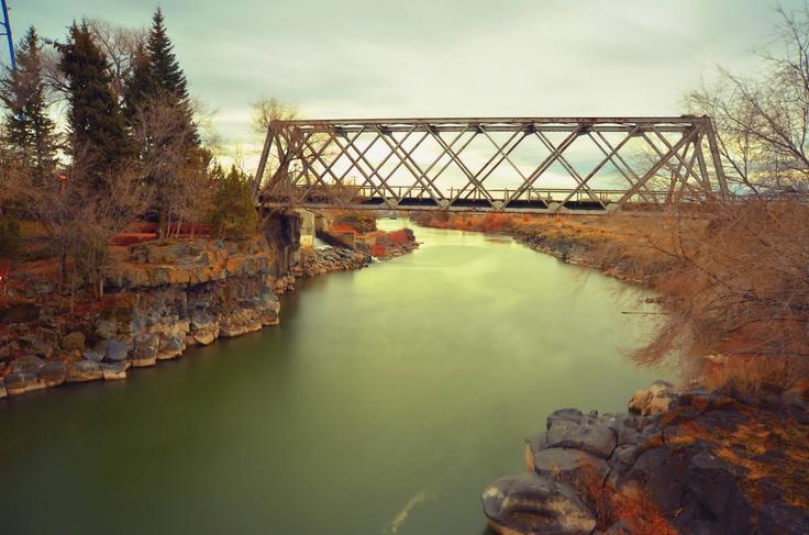 Rail Road Bridge Snake river in Idaho Falls, Idaho.