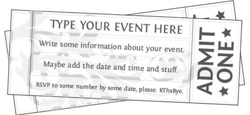 Free Editable, Printable Event Tickets (and lots of other free printables - some editable, some not)