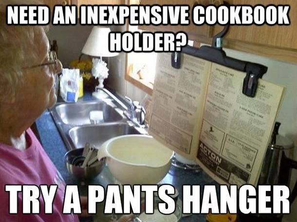 Hold your cookbook with a clip-on clothes hanger