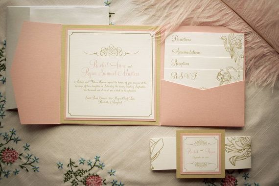 Pink and Gold Wedding Invitation / Pink Orchid Invite / As Seen on The Wedding Chicks Blog Invite Pocketfold Sample