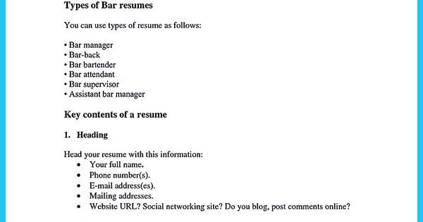 contoh surat lamaran kerja umum, contoh surat lamaran kerja di - bartender skills resume