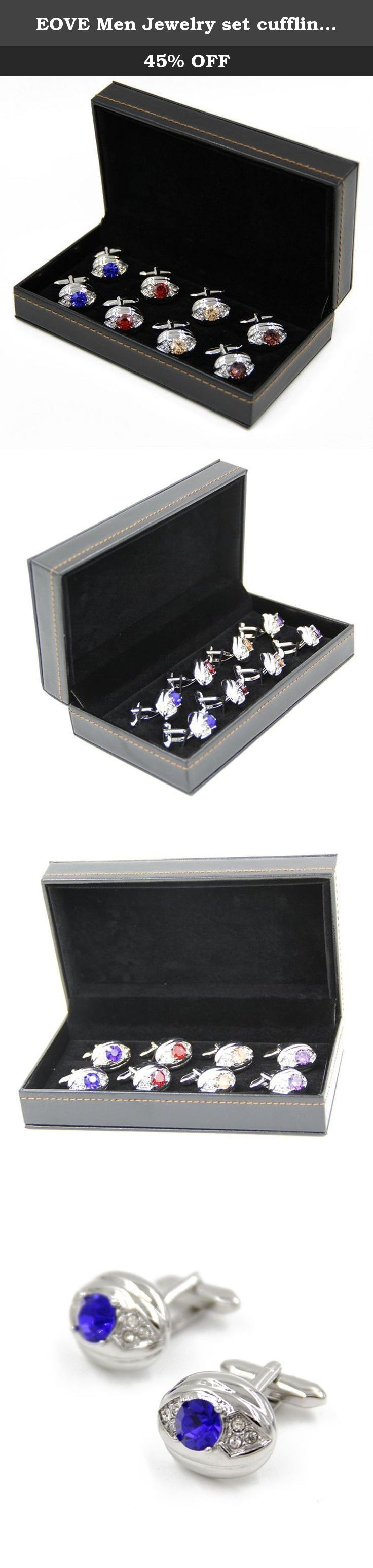 EOVE Men Jewelry set cufflink Luxury crystal cufflink 4 pair and Exquisite Box. Discover the EOVE Collection of jewelry. The selection of high-quality jewelry featured in the EOVE Collection offers Great values at affordable Price, they mainly made of high quality2988 Sterling Silver, Freshwater Pearl, Srovski, Crystal, Opal Stone,Gold ,Platinum, Stainless Steel, Tungsten, Silver and Leather. Find a special gift for a loved one or a beautiful piece that complements your personal style…