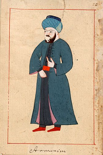 Armenian.  The 'Rålamb Costume Book' is a small volume containing 121 miniatures in Indian ink with gouache and some gilding, displaying Turkish officials, occupations and folk types. They were acquired in Constantinople in 1657-58 by Claes Rålamb who led a Swedish embassy to the Sublime Porte, and arrived in the Swedish Royal Library / Manuscript Department in 1886.
