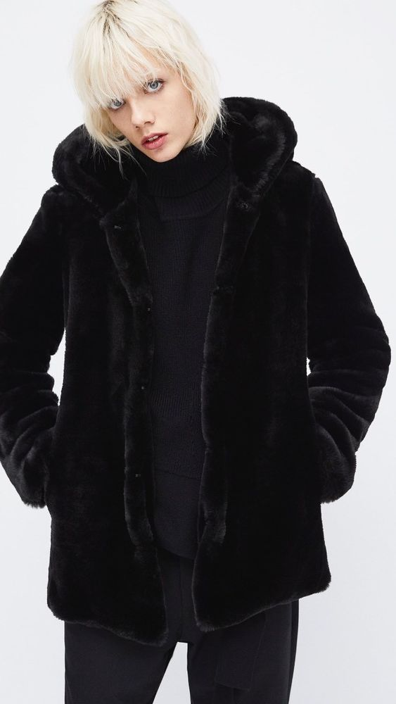 5287c80bfb ZARA AW17 Textured Black Faux Fur Coat With Hood Size S Uk 8/10 ...