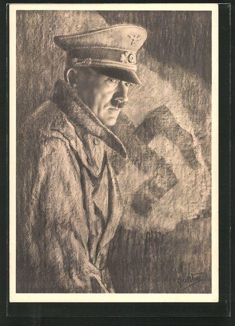 AK Haus der deutschen Kunst NR 116: Führer Adolf Hitler mit Mütze und Mantel vor einem Hakenkreuz
