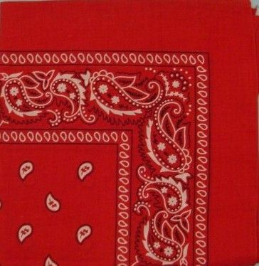 red colors square bandanas/doo rags Case of 24