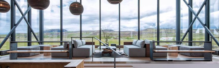 Stunning scenery from the lobby at ION Luxury Adventure Hotel near Reykjavik