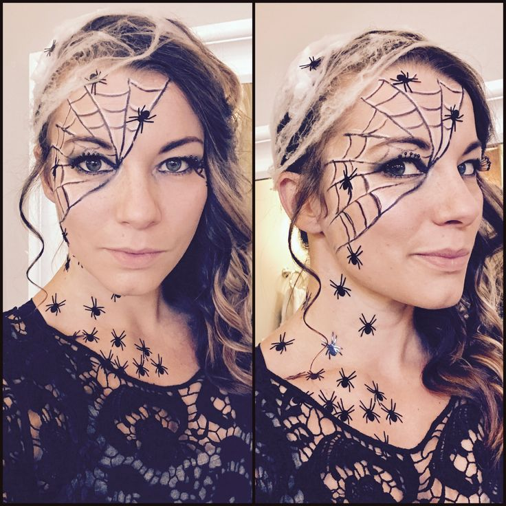Spider web makeup. Halloween makeup. Easy last minute DIY costume.
